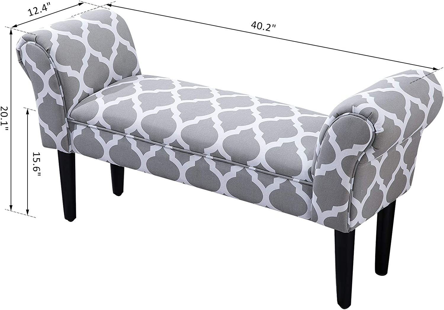 """Festnight Fabric Bed Bench Bedside Bench Footstool with Arms End of Bed Furniture Grey 40/"""""""