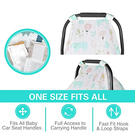 Bear Metplus Summer Carseat Cover Lightweight Breathable Infant Carrier Covers Newborn Swaddle Blanket Unisex Baby Shower Gift Extra Large 47.2 x 35.4 inch Muslin Car Seat Canopy