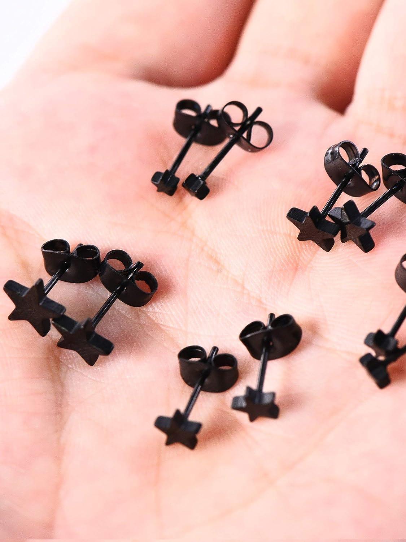 18 Jauge de 3 mm /à 7 mm DILISEN 5 Paires Boucles doreilles en Acier Inoxydable Boucles doreilles Noires Boucles doreille /Étoile pour Hommes et Femmes