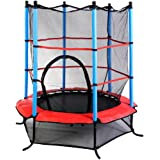 "55"" Mini Round Trampoline Indoor Outdoor Kids Jumping Trampoline with Safety Guard Bars Enclosure"