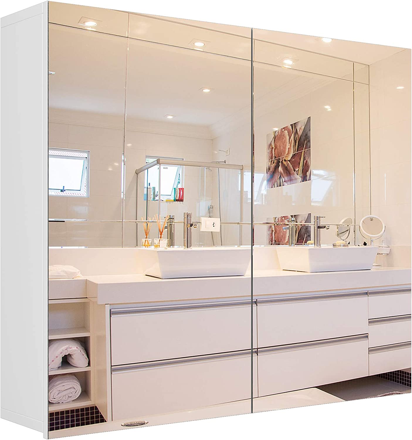 Amazon Com Homfa Bathroom Mirror Cabinet 27 6 X 23 6 Inch Wall Mounted Medicine Cabinet With Adjustable Shelf Storage Mirror Cabinet With Double Doors Recessed Or Surface Mounting White Kitchen Dining