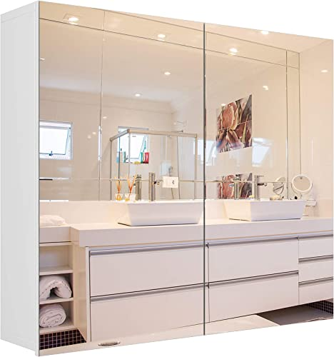 Homfa Bathroom Mirror Cabinet, 27.6 X 23.6 Inch Wall Mounted Medicine Cabinet with Adjustable Shelf, Storage Mirror Cabinet with Double Doors, Recessed or Surface Mounting-White