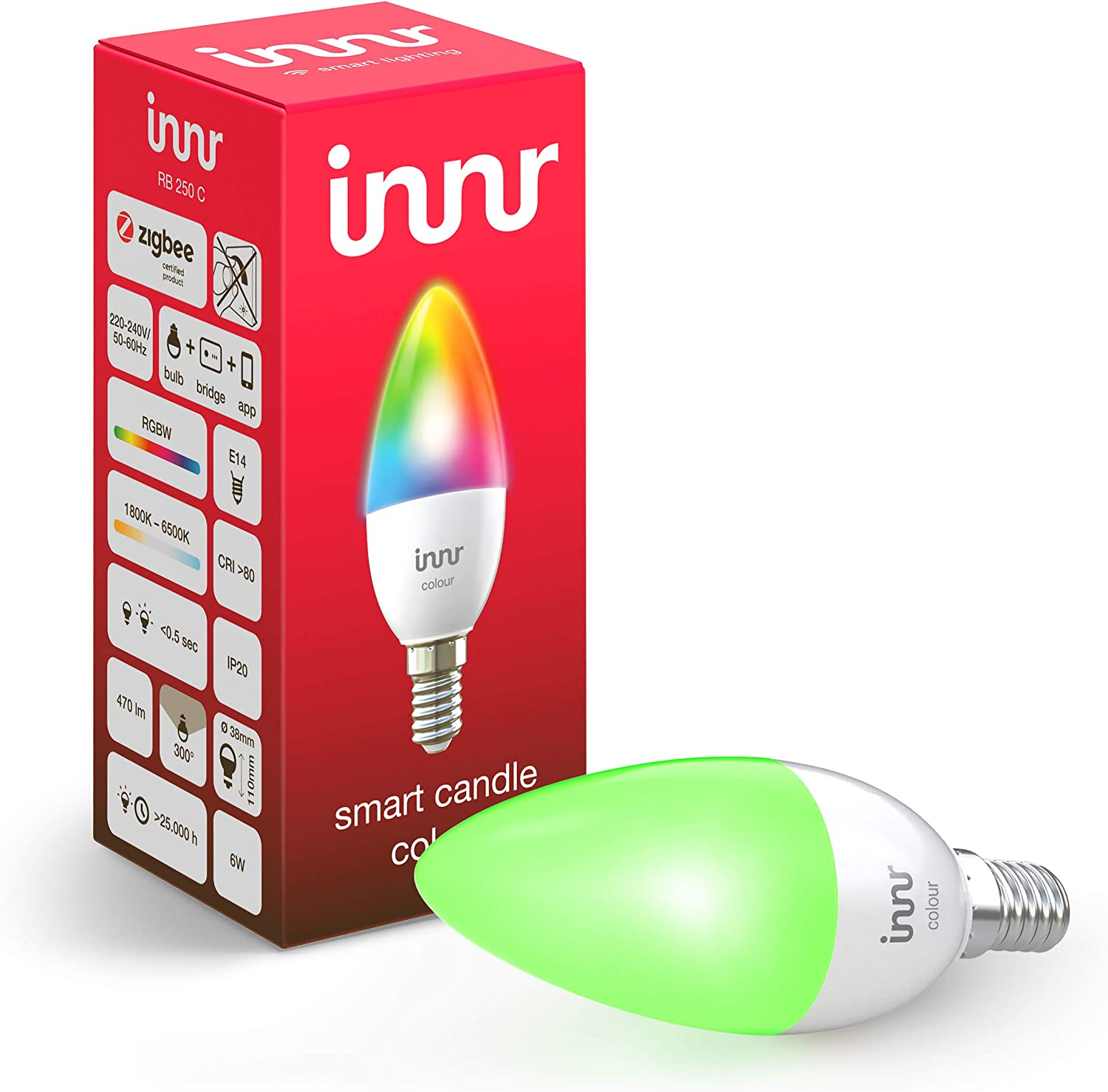 Innr Bombilla LED conectada, E14, color, RGBW, works with Philips Hue* (Puente requerido) & Echo Plus compatible, RB 250C