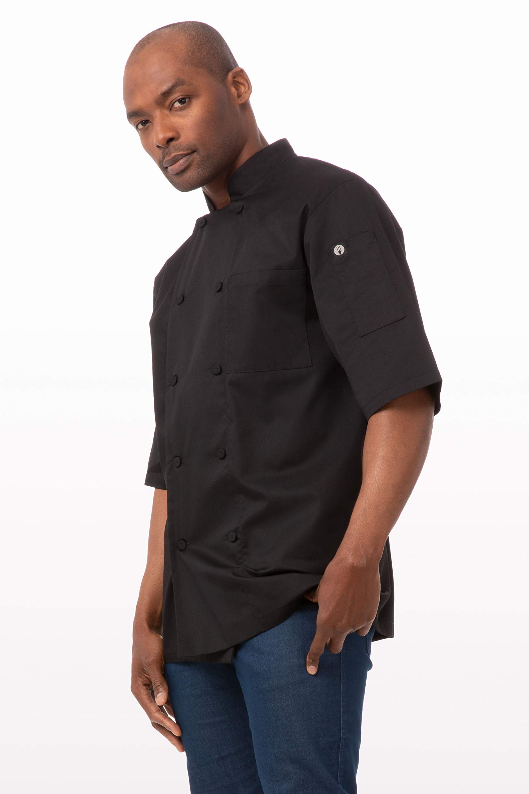 Chef Works Men's Montreal Cool Vent Chef Coat, Black, Large by Chef Works