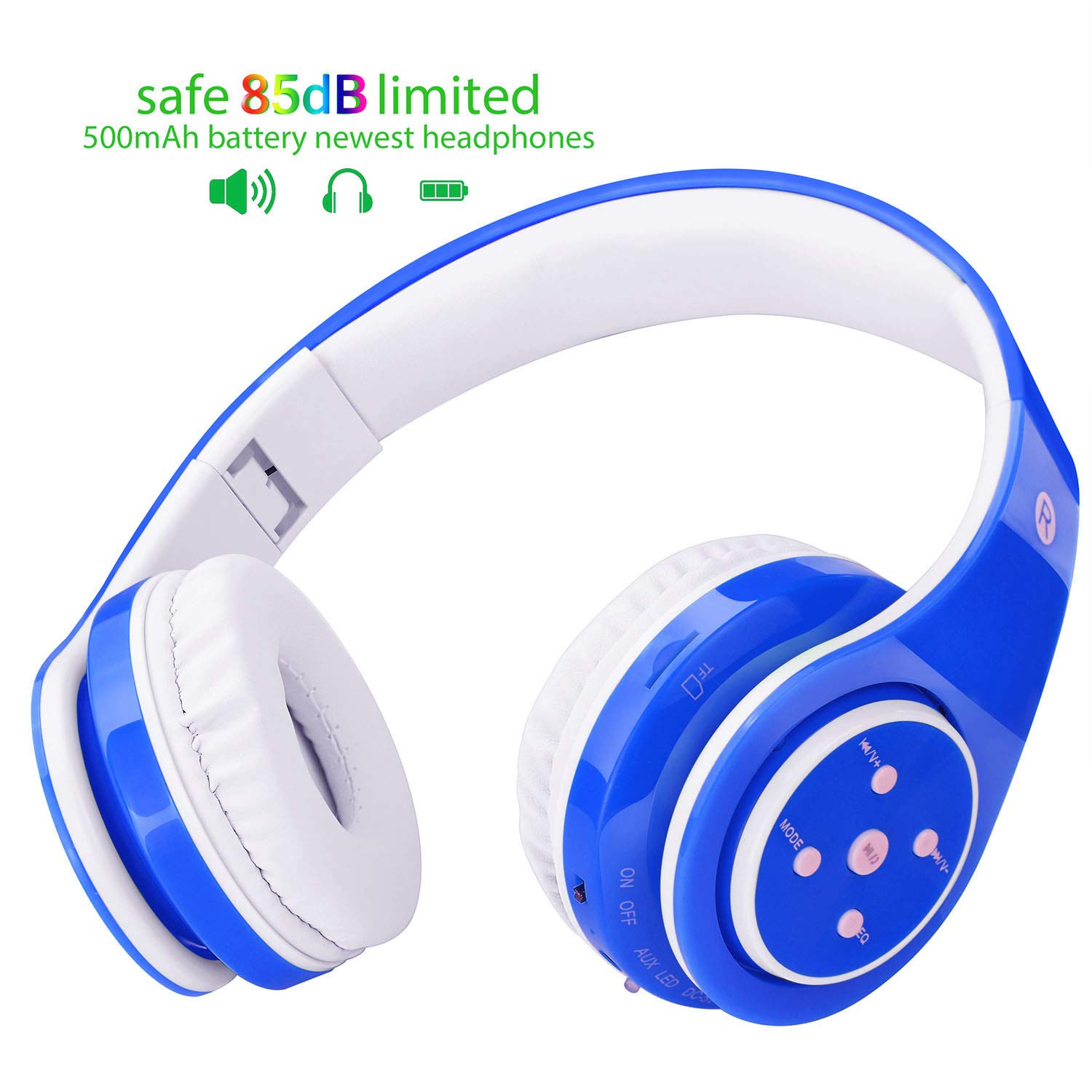 Wireless Headphones for Kids, 85db Limited, 500mAh Battery up to 6-8 Hours Play, Over-Ear and Build-in Mic Bluetooth Headphones for Boys Girls, 3.5mm Audio Jack Cable for PC Tablet Cellphone(Blue)