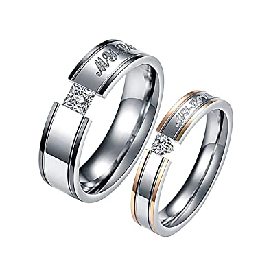 KY Jewelry - Anillo de acero inoxidable para parejas con grabado «MY LOVE»