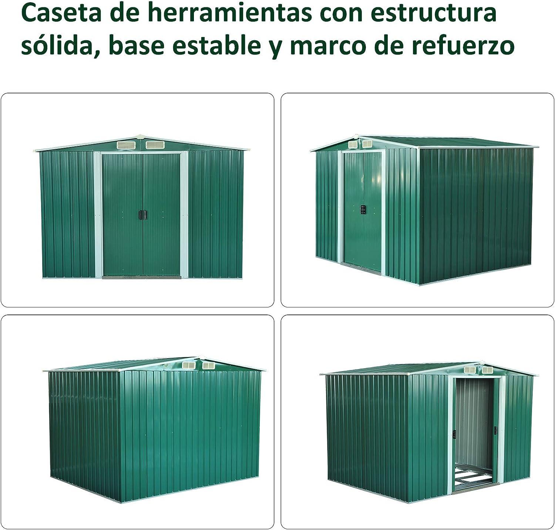 Outsunny Cobertizo Metálica Tipo Caseta de Jardín Terrazas Galvanizado Almacén para Herramientas Jardinería 246x192, 5x177, 5cm: Amazon.es: Jardín