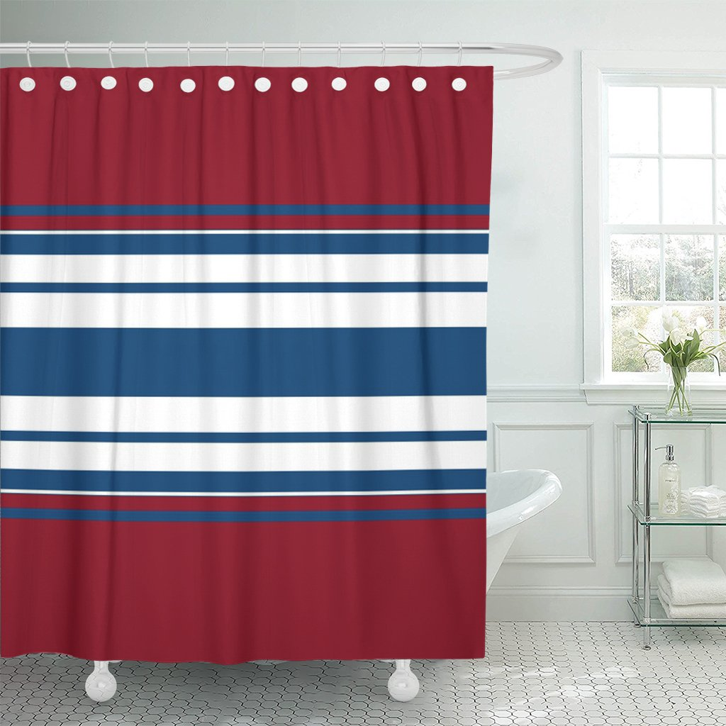 Emvency Shower Curtain Navy Abstraction of White Blue and Red Stripes Bandage Waterproof Polyester Fabric 72 x 72 inches Set with Hooks