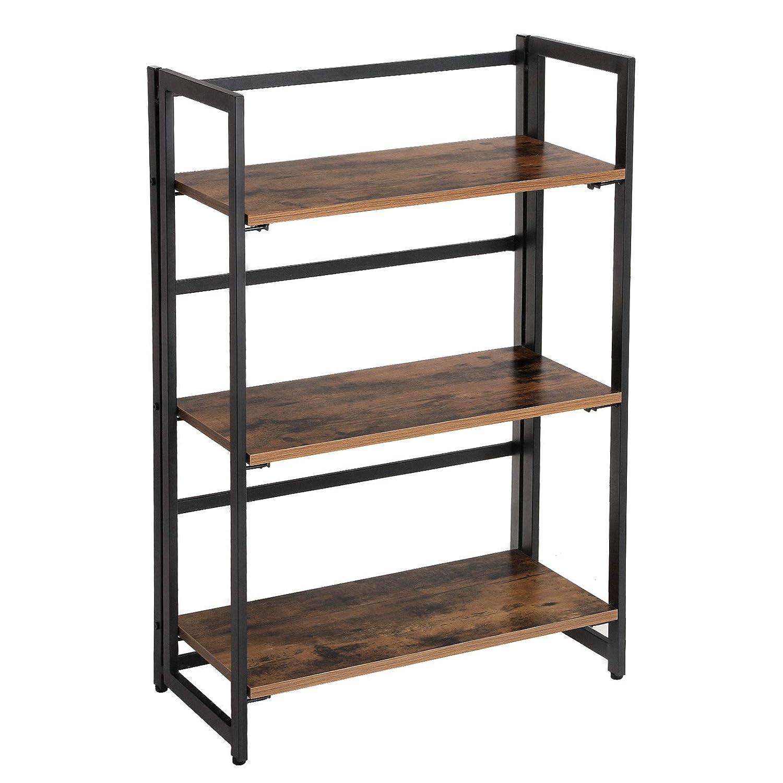 VASAGLE Standregal im Industrie-Design, Bücherregal mit 3 Ablagen, Klappregal, multifunktionales Regal, mit Metallrahmen, keine Montage erforderlich, für Wohnzimmer, Schlafzimmer, Küche Vintage LLS66X