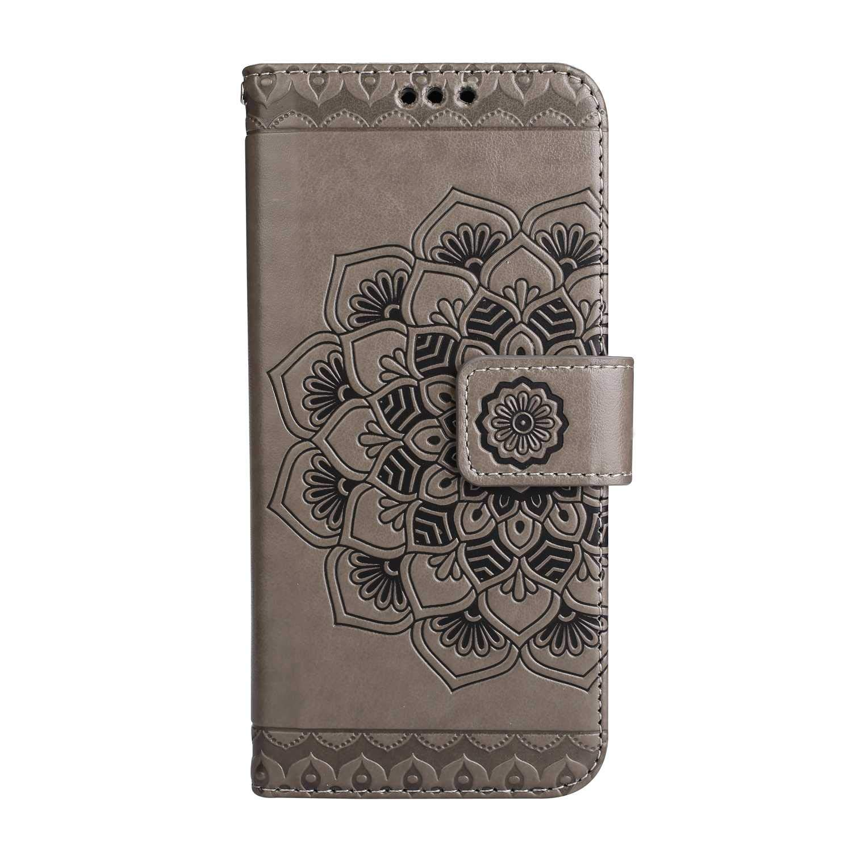 Coque Galaxy S8, SONWO La Mode Motif de Mandala Fleurs Flip en Cuir PU Housse Etui avec Fermoir magnétique, Fentes de la Carte pour Samsung Galaxy S8, Gris