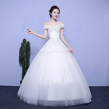 Novia Casada Vestido de Novia Palabra Hombro Mangas Largas Remolque de Encaje Vestido de Novia Delgada