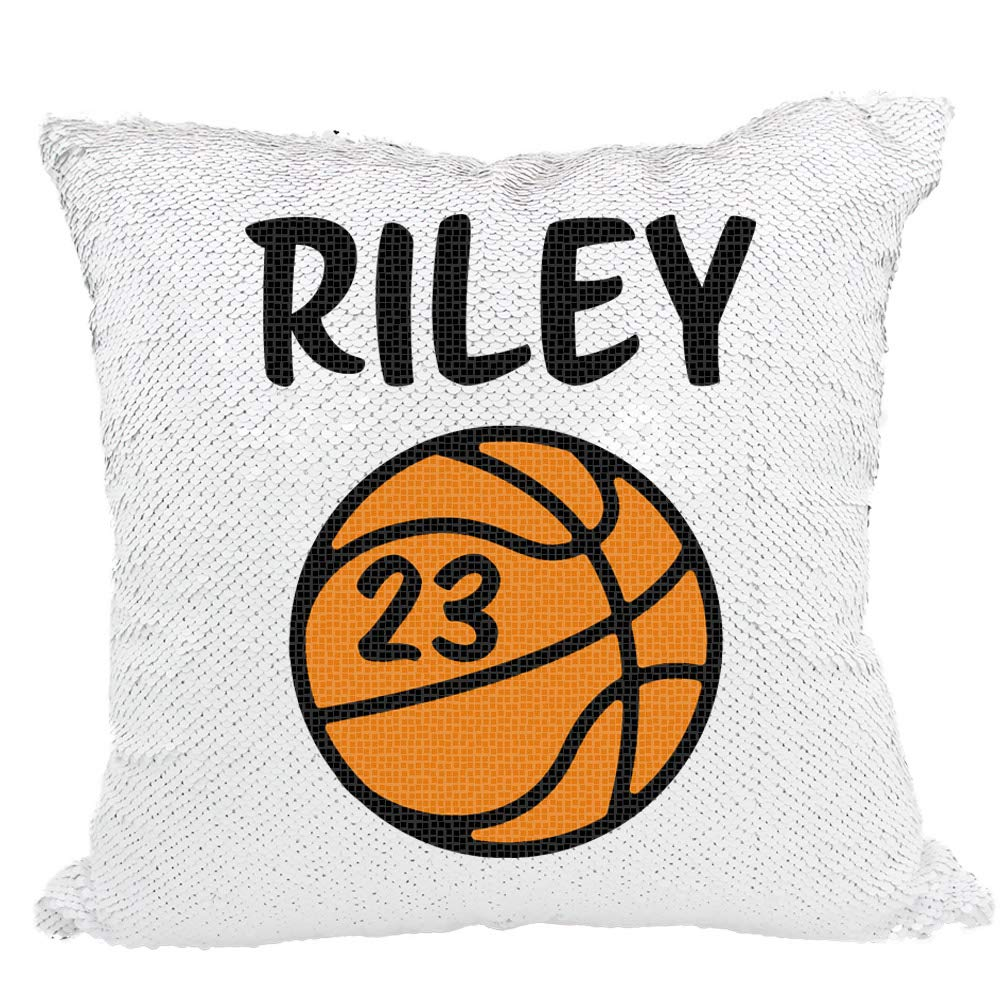 Basketball Sequin Pillow, Personalized Basketball with Numbers Reversible Sequin Pillow Black White