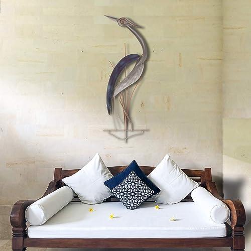 T.I. Design Elegant Heron Facing Left Abstract Coastal Contemporary Metal Wall Decor