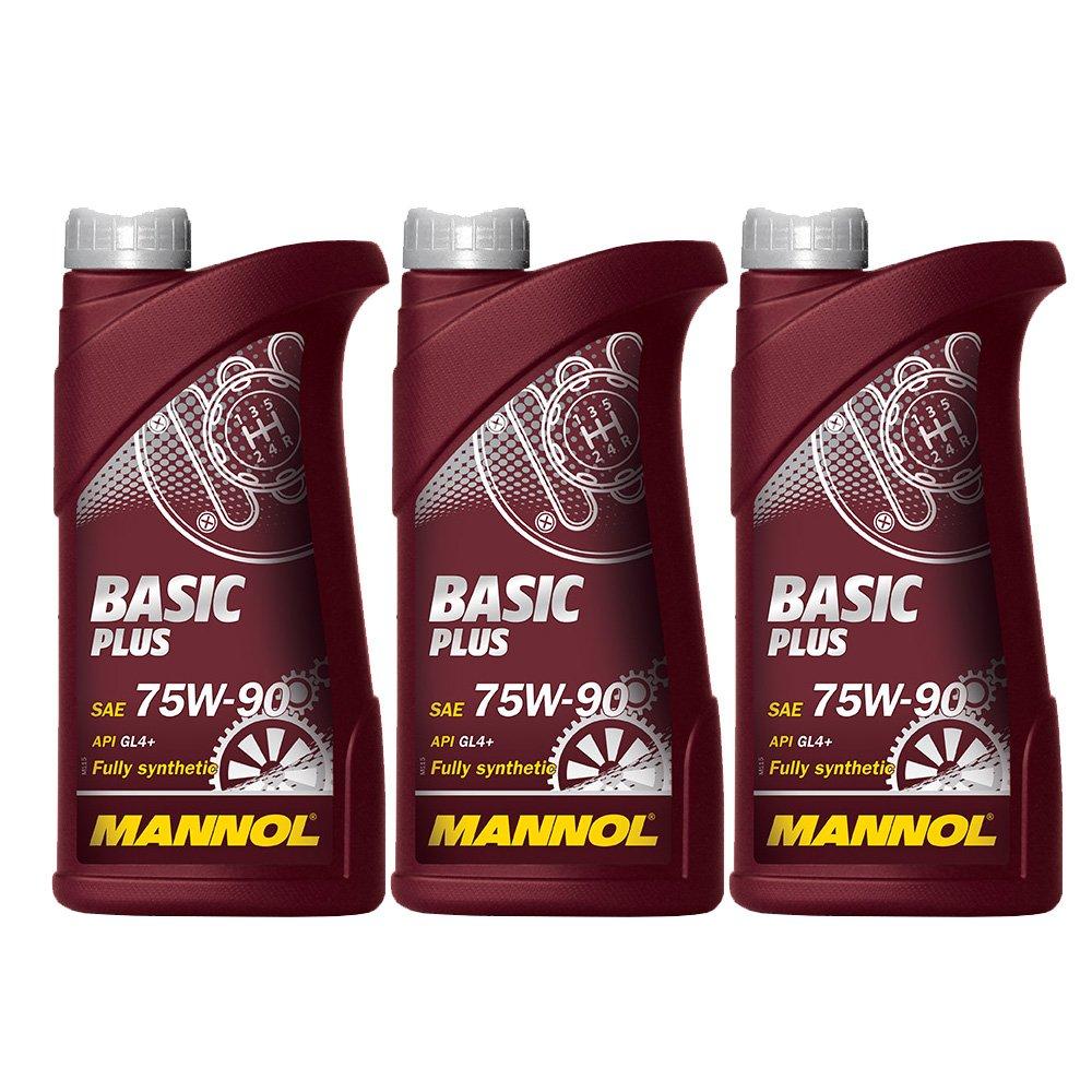3 x 1L MANNOL Basic Plus 75W-90 API GL 4+ / Vollsynthetisches Schaltgetriebeö l SCT