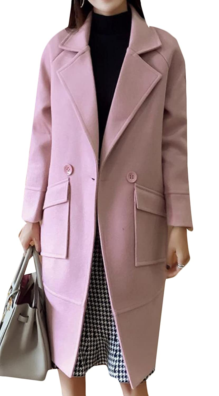 GAGA Women's Loose Long Trench Coat Woolen Coat Pocket