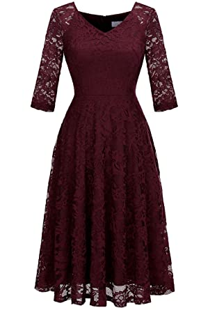 7e4ee31a661 Dressystar Long-Sleeve A-Line Lace Bridesmaid Dress Midi for Wedding Formal  Party XS