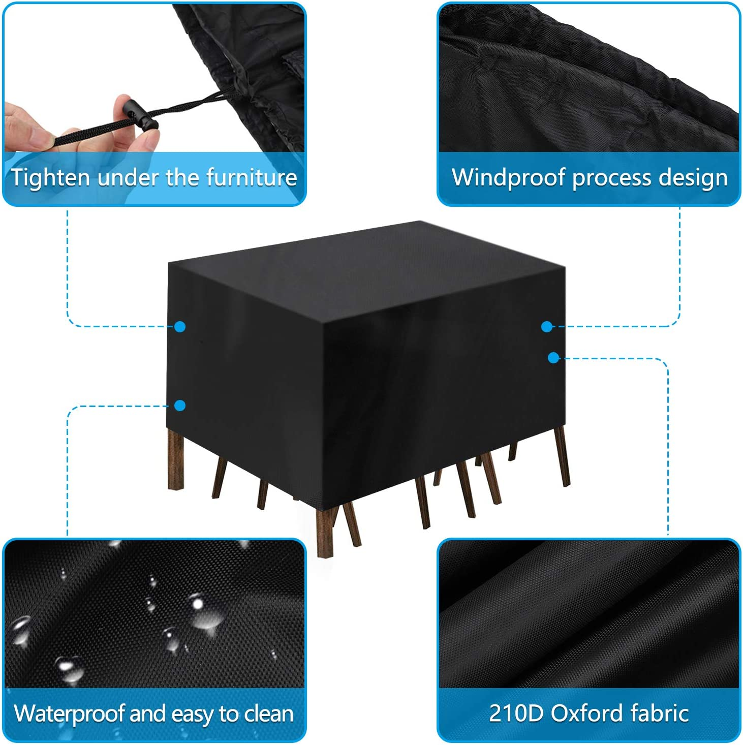 EEEKit Patio Furniture Set Cover Fits 12-14 Seat Large Size 210D Oxford Waterproof Outdoor Table and Chairs Set Cover UV Resistant Dustproof Anti-Fading Cover with Storage Bag-124x63x29Inches