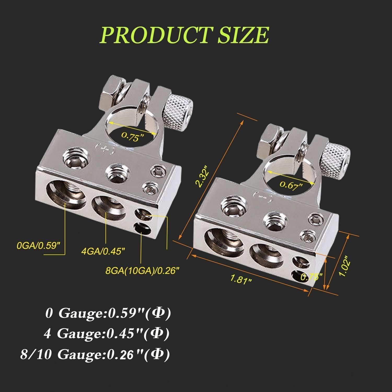 9ositifs et N/égatifs 2PCS avec cale ajustable 0 Gauge Batterie Bornes,0//4//8//10 AWG Voiture Bornes de Batterie Connecteurs