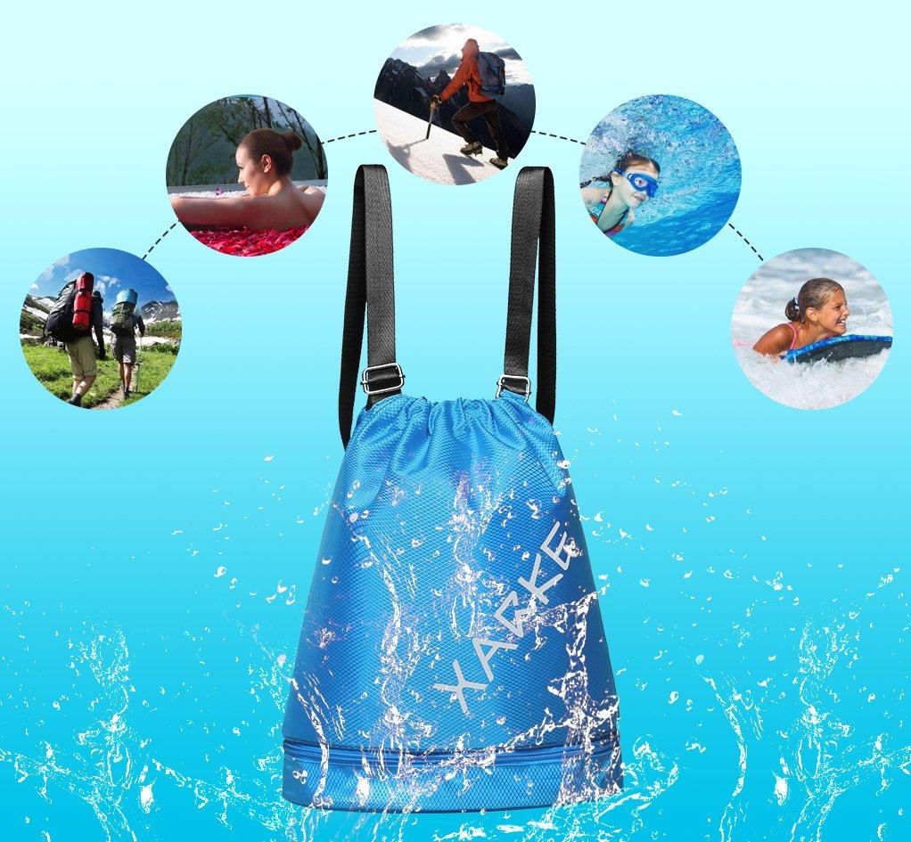 DEKINMAX Waterproof Drawstring Backpack Sport Gym Yoga Bag Gear Organizer Lightweight Swim Bag Sackpack for Women Girls