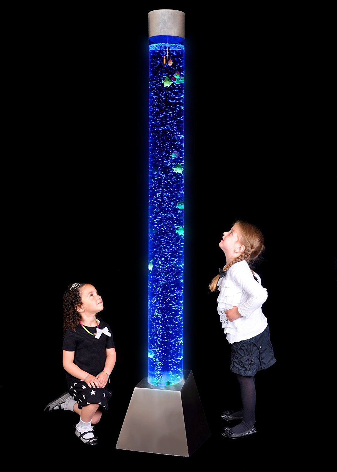 Sensory LED Bubble Tube - 6 Foot ''Tank'' With Fake Fish and Translucent Balls, With Remote Control - Large Floor Lamp with 8 Changing Lights Colors - Stimulating Home and Office Décor - by Playlearn