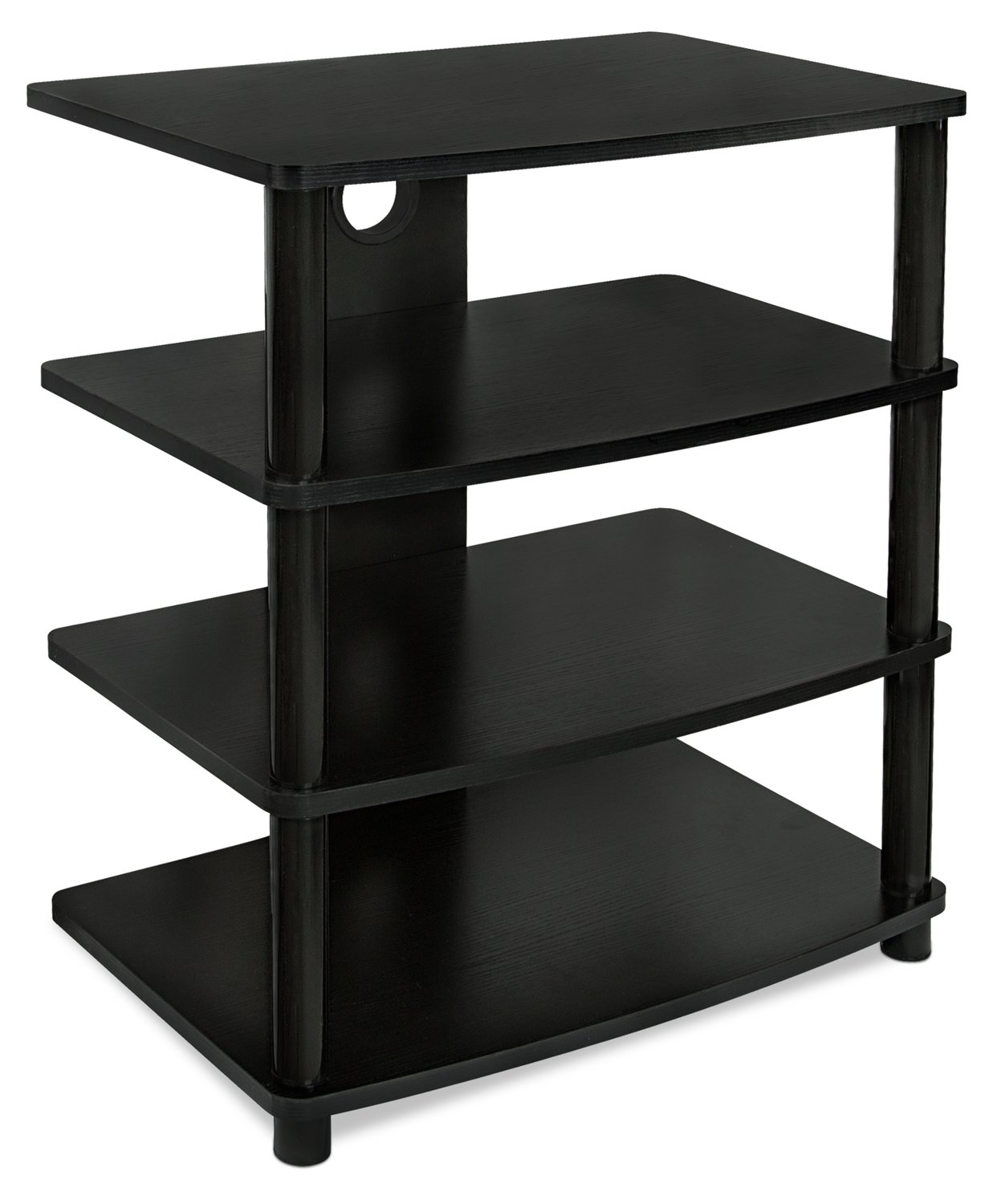Mount-It! Media Stand Furniture Home Entertainment Center with 4 Wood Shelves for LCD LED 4K TV, Xbox 1, PlayStation, Monitors, Speakers, Cable Management Holes, Black (MI-868) MI-868 (TPW1002)