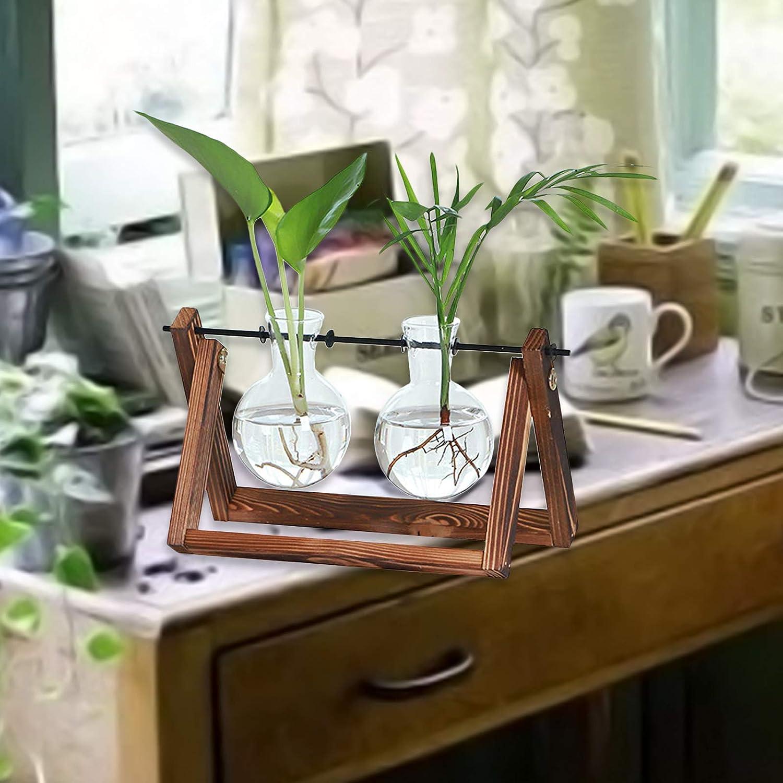 Escritorio plantador de Cristal Sola Bombilla florero terrario Aire plantador de hidropon/ía hogar Planta Jard/ín Decoraci/ón de la Boda Bombilla de floreros con el Soporte de Madera
