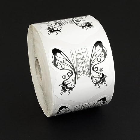 Guias - moldes- uñas de gel / acrílicas - 500 unidades. MARIPOSA negra- color negro - Molde para uñas - Blucc Style: Amazon.es: Belleza