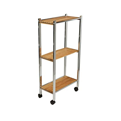 641def0ccd50 Mind Reader 3 Tier Bamboo Utility Cart, Kitchen, Office, Home, Brown