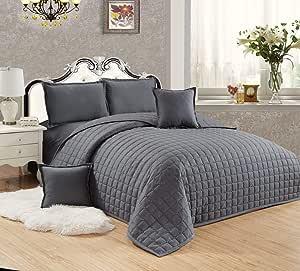طقم لحاف مضغوط وجهين مفرش سرير 6 قطع, مقاس مزدوج - ST-010