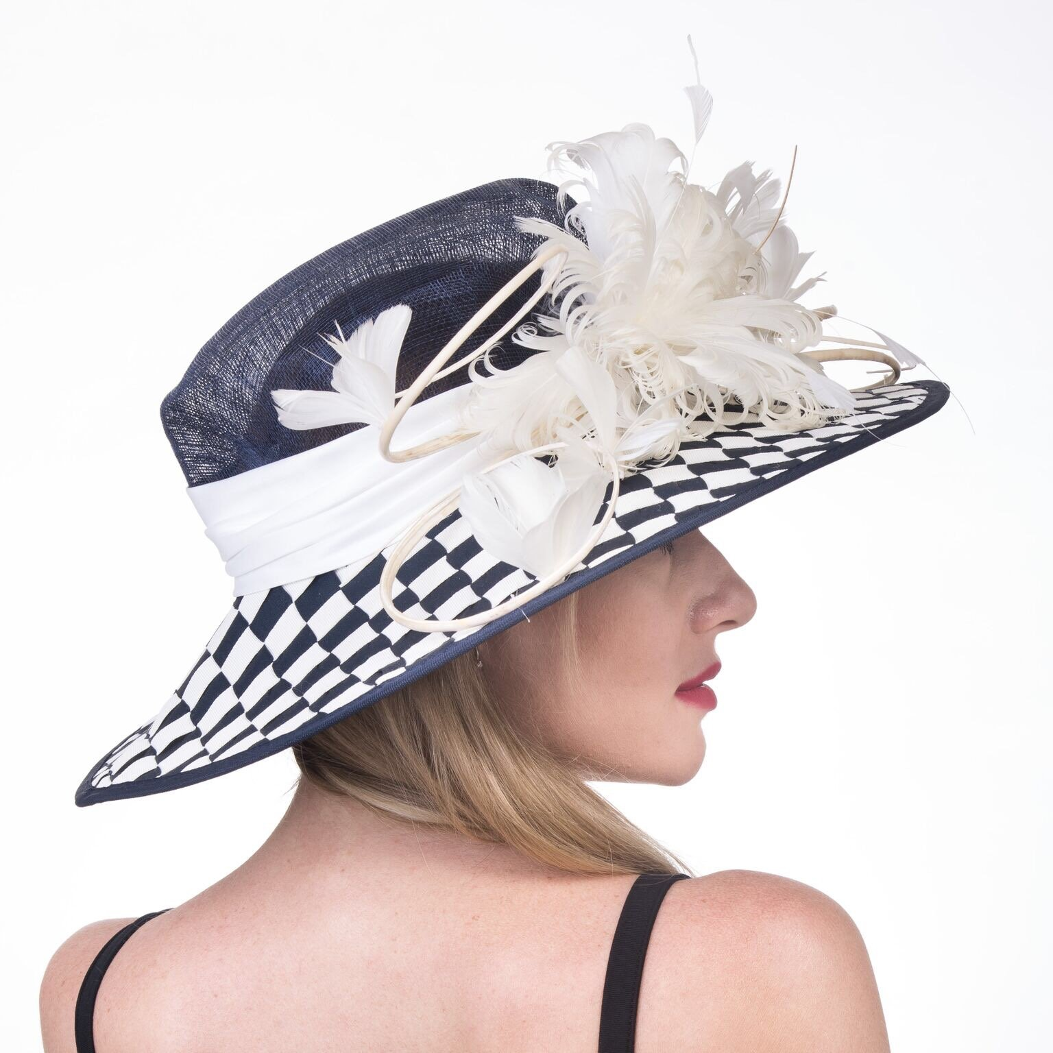 Gorgeous Wide Brim Sinamay Floral Feathers Derby Dress Hat Navy Blue w White by ray&daniel (Image #4)