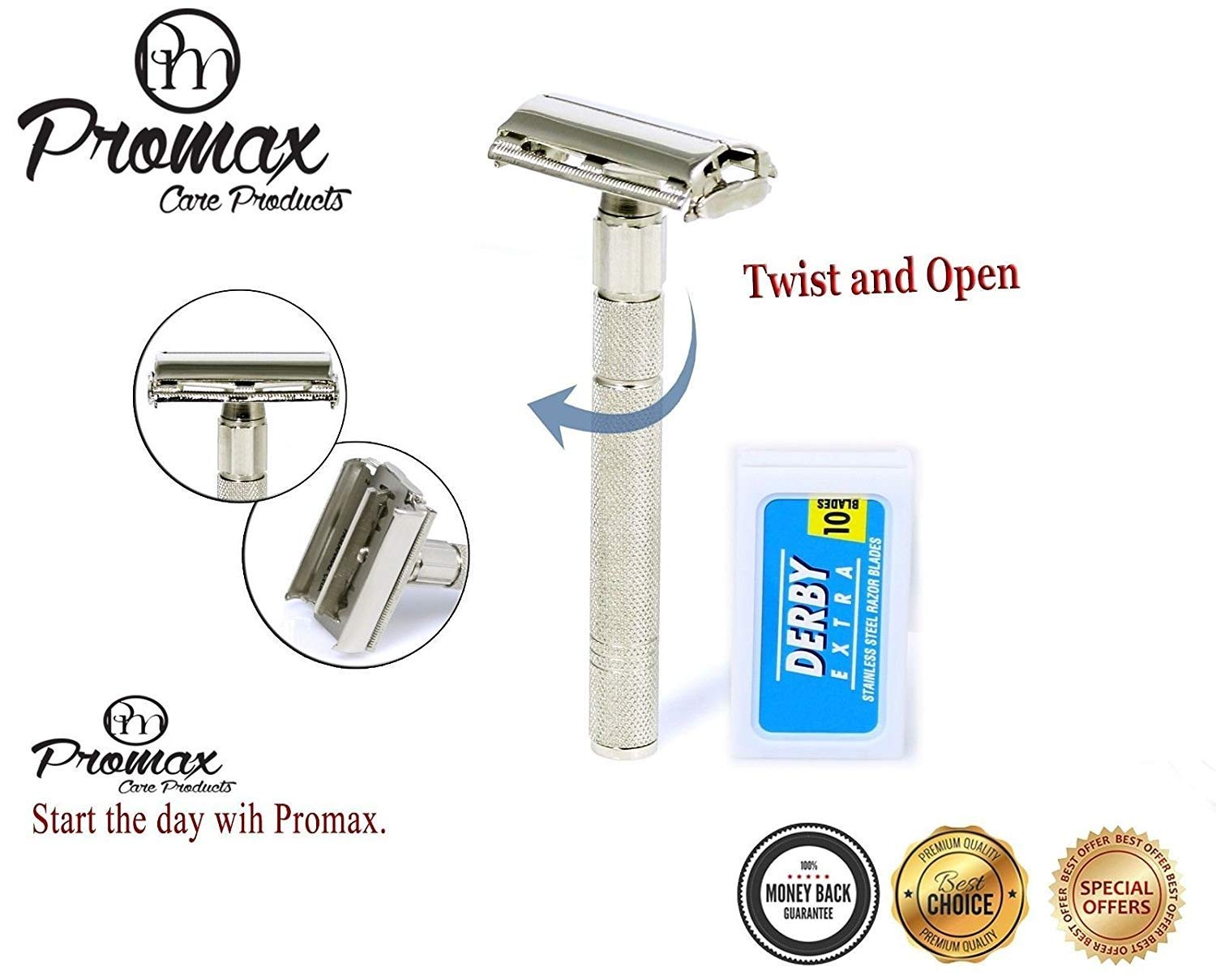 ProMax Care Double Edge Safety Razor ButterFly Style with 10 Derby Blades - Long Handled Chrome Finish 4 inch - Rust Free and Unbreakable-140-10001BF ProMax Care Products