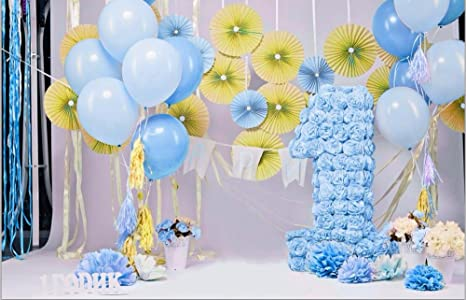 Digital Printed 1st Birthday Backdrop For Photography Ivory Blue Flowers Candle Boy Party Background