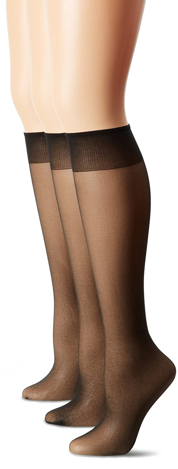Hanes Silk Reflections Women's Too Day Sheer Knee Highs Sandalfoot 3 Pairs Black One Size 0B395