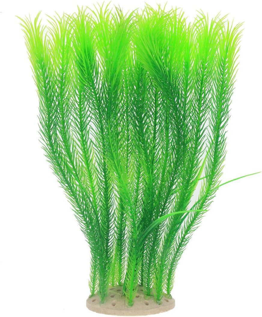 JIH Fish Tank Decor Plastic Plants, Aquarium Decoration Ornament Soft Artificial Planst Safe for All Fish,Green