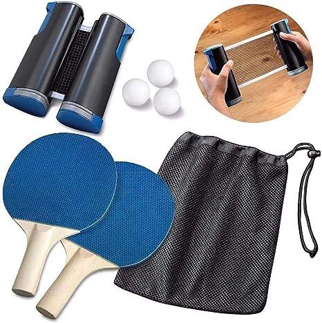 Kacsoo Ping Pong Juego de Tenis de Mesa, Red de Tenis de Mesa retráctil, Duradero (con 2 Raquetas, 3 Pelotas, una Bolsa y una Red retráctil) Juegos para niños Adultos en Interiores/Exteriores: