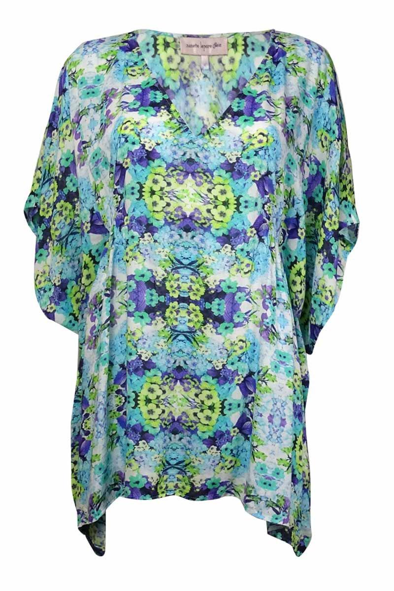 Nanette Lepore Women's Kamari Reflection Caftan Cover-Up Aquamarine Swimsuit Top