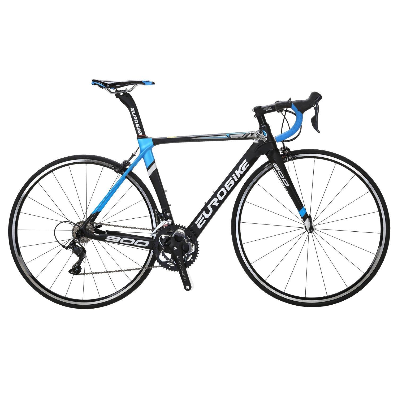 EUROBIKE C900 ロードバイク 700C 炭素繊維フレーム 炭素繊維フロントフォークロードバイク 3000 18S手動変速 钳形ブレーキ超軽量 自転車  黒と青 B078ZT1H2L