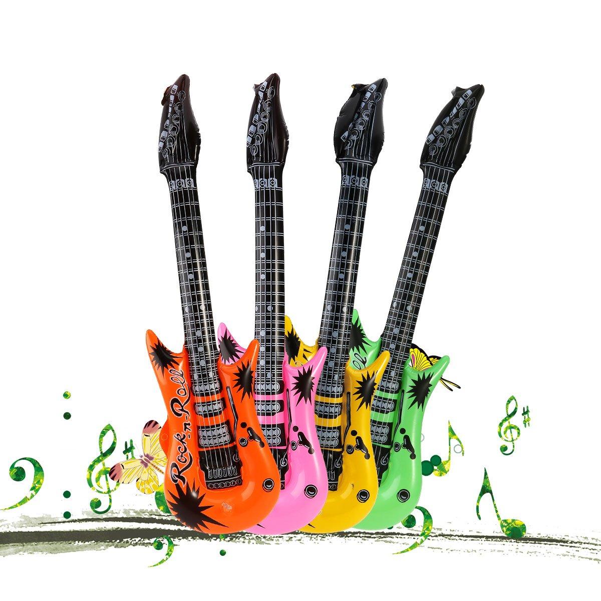 TOYMYTOY Guitarra hinchable Guitarra Inflable Para Fiesta Regalo De Ninos 6Pcs(Color al azar)