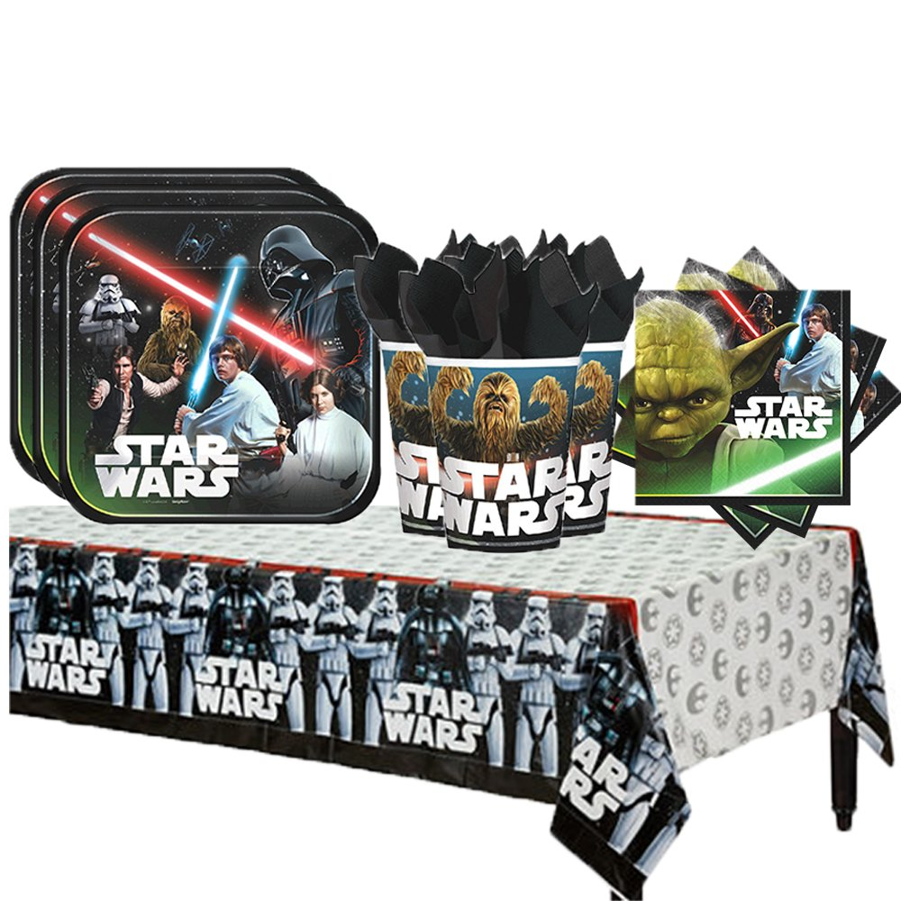 Star Wars Classic Party Supplies Party Pack for 16 guests (Plates, Cups, Napkins, Tablecover)