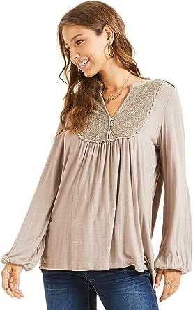 SONJA BETRO Women's Knit Lace Bib Button Detail Tunic Plus Size