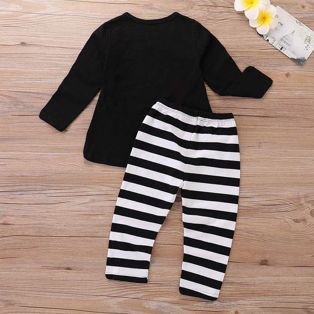 Star/_wuvi Tops Toddler Kids Baby Girl Long Sleeve Pumpkin T-Shirt Tops+Striped Pants Halloween Outfits Set