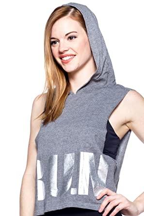 Daniwear Women s Sleeveless Pullover Workout Hoodie w  Stylish Holographic  RUN Print d5d5a7a29