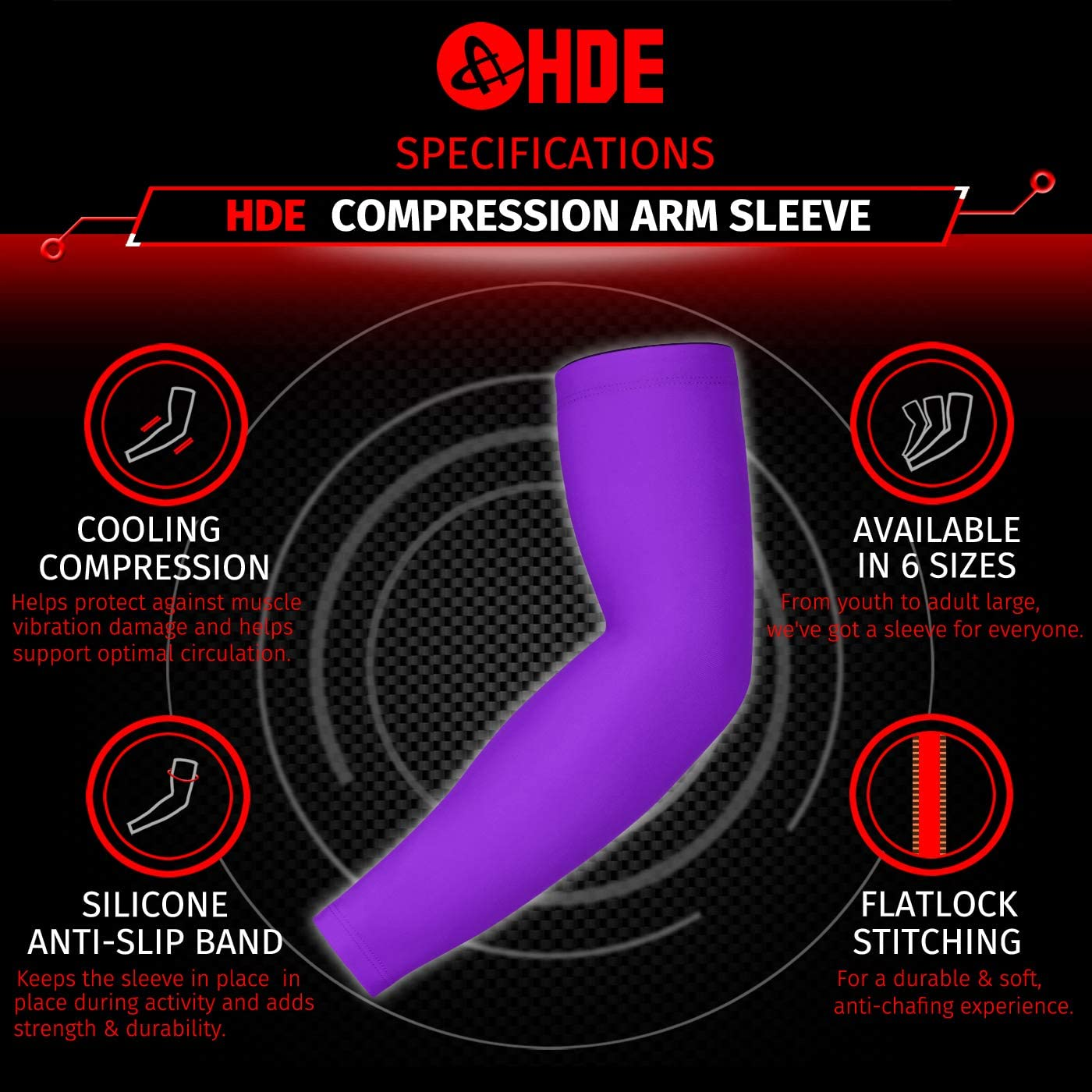 HDE Sports Compression Arm Sleeves for Kids Non-Slip Cover Arm Sleeve for Adults Baseball Football Basketball Moisture Wicking UV Protection