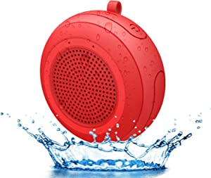 CYBORIS IPX7 Waterproof Outdoor Bluetooth Speaker Swimming Pool Floating Portable Mini Speakers Wireless 5W with Microphone & TWS for Beach, Bathroom, Home, Shower (Red)