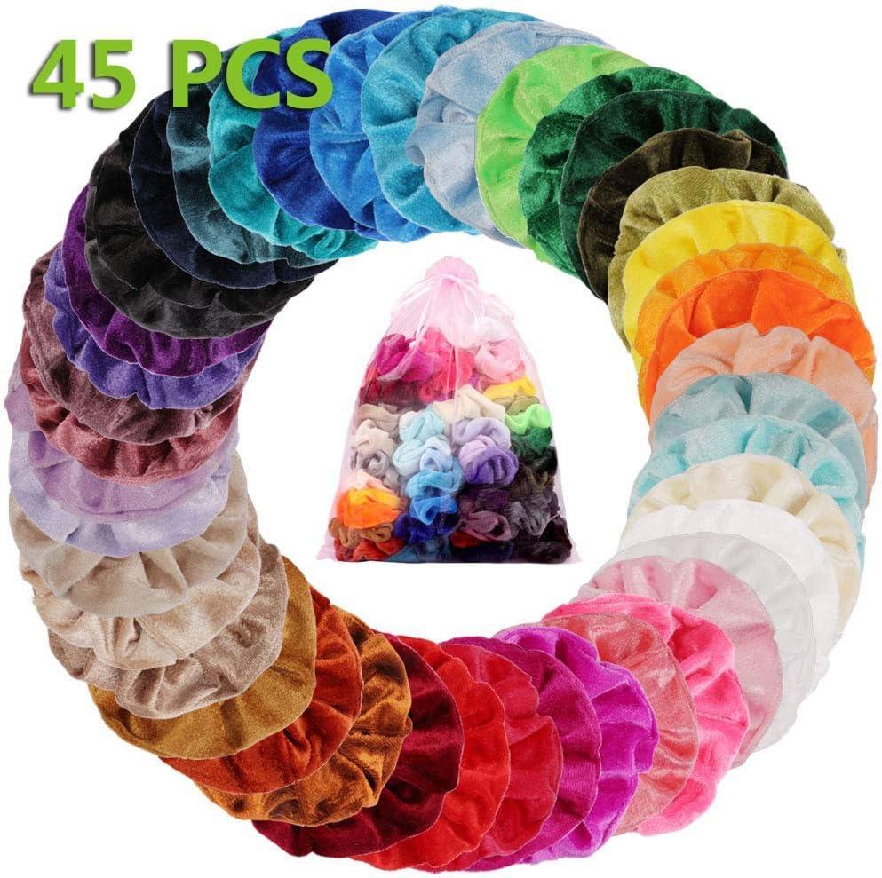 45 Colores Velvet Elástico Hair Scrunchies, Lazos Elásticos De Banda Pelo Stretchy Multicolor De Terciopelo Accesorios Para El Cabello Ponytail Titular Para Mujeres Niñas Accesorios