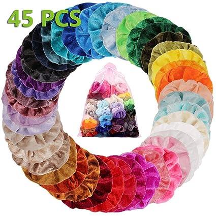 45 Couleurs Cheveux Velours Élastique Chouchous, Multicolore Cheveux bandeaux Liens Cordes Queue De Cheval Porte Bandeaux Pour Femmes Ou Filles Accessoires De Cheveux