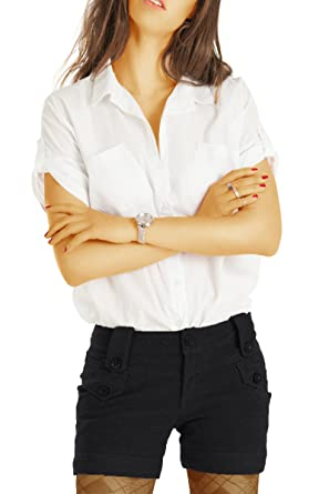 29db8c847a06 bestyledberlin Damen Shorts, Kurze Hosen Knopf-Details, elegante Chino  Hotpants Wolle j28f schwarz