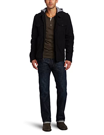 Levis Mens Washed Cotton 2 Pocket Hoodie, Black, ...