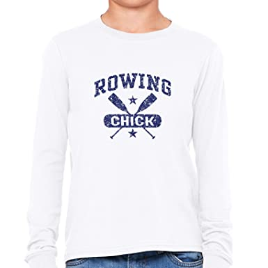 ec3370c5e Funny Rowing Chick Crew Team Oars Logo Graphic Girl's Long Sleeve T-Shirt:  Amazon.co.uk: Clothing
