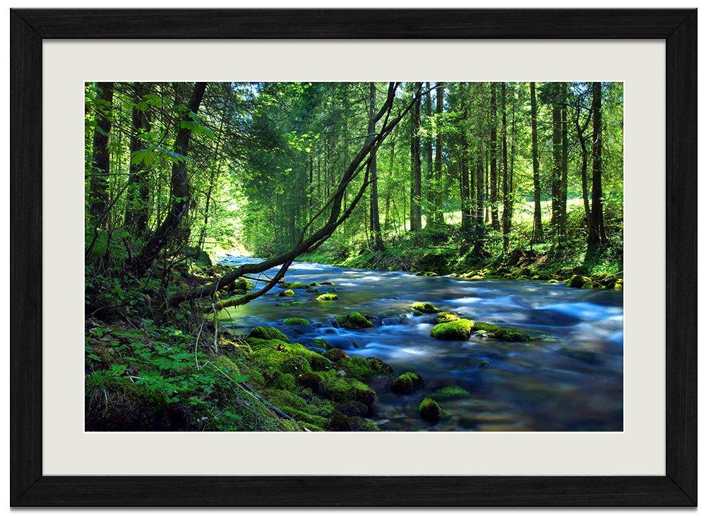 美しい緑の森、滝、川、山 (059) 自然風景 壁掛け黒色木製フレーム装飾画 絵画 ポスター 壁画(40x60cm) B0721WQJM6